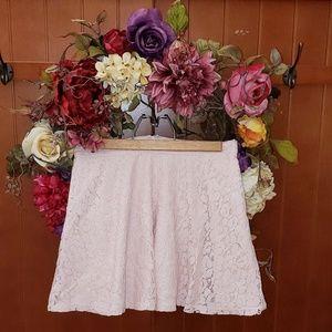 Light Baby Pink Lace Short Skater Skirt